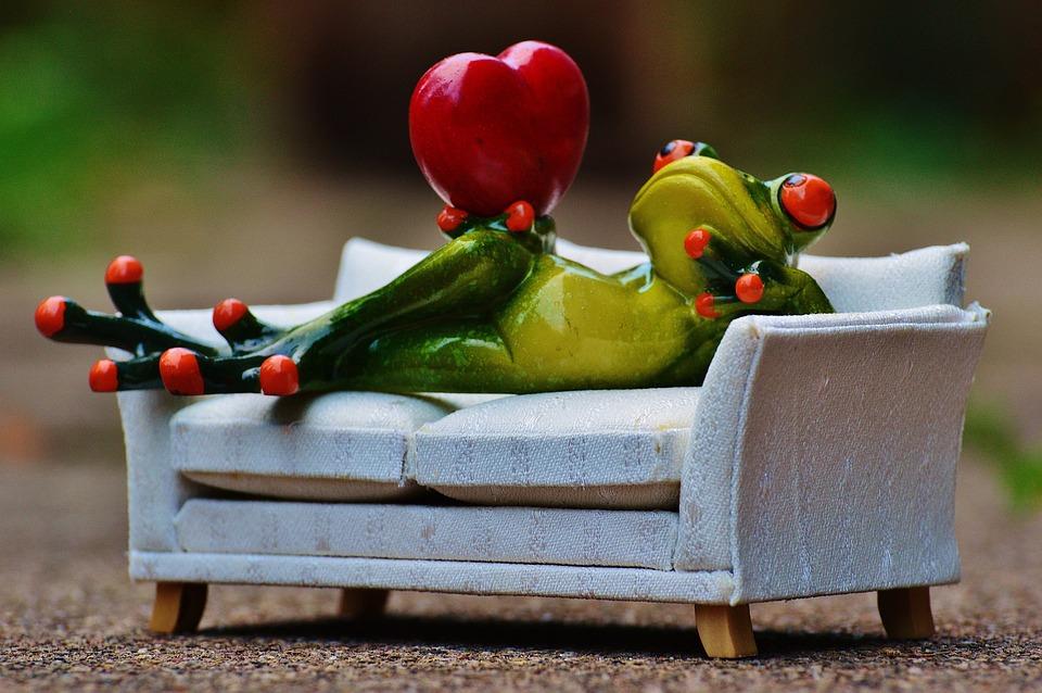Frog, Love, Sofa, Heart, Fig, Funny, Cute, Concerns