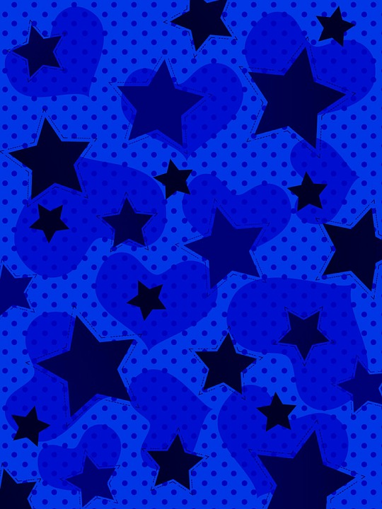 Background, Star, Heart, Pattern, Blue