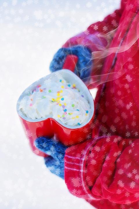 Valentine's Day, Hot Chocolate, Heart, Winter, Mug