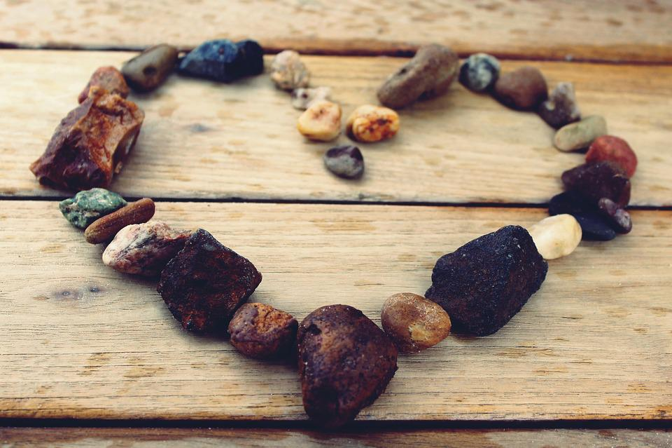 Heart, Stone Heart, Stones, Wood, Background