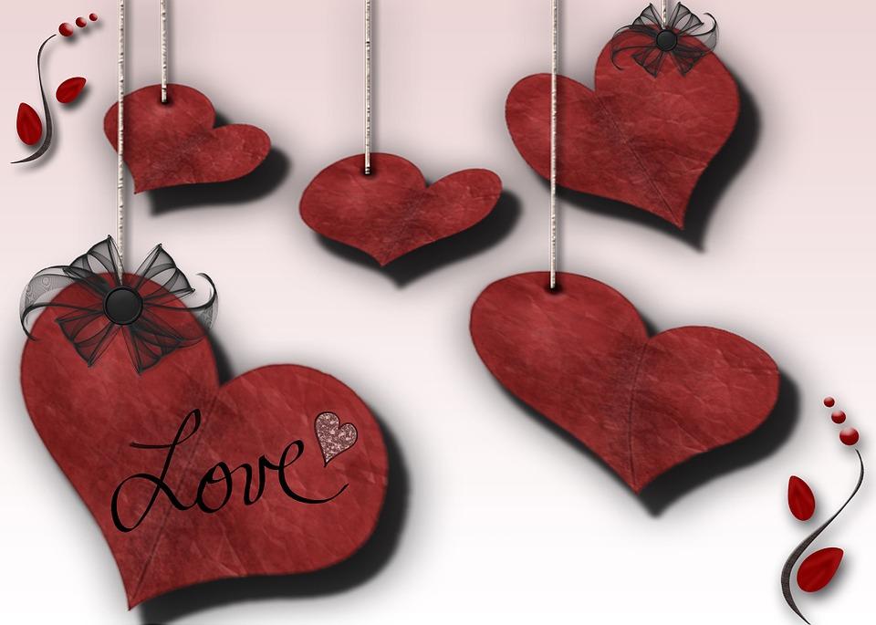 Digital Art, Computer Graphic, Hanging, Hearts