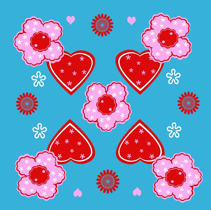 Forms, Hearts, Flowers, Blue, Pink, Background