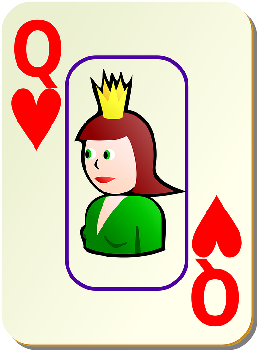 Hearts, Queen, Face, Card, Recreation, Games, Cards