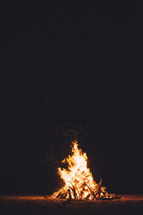 Bonfire, Burning, Dark, Fire, Flame, Heat