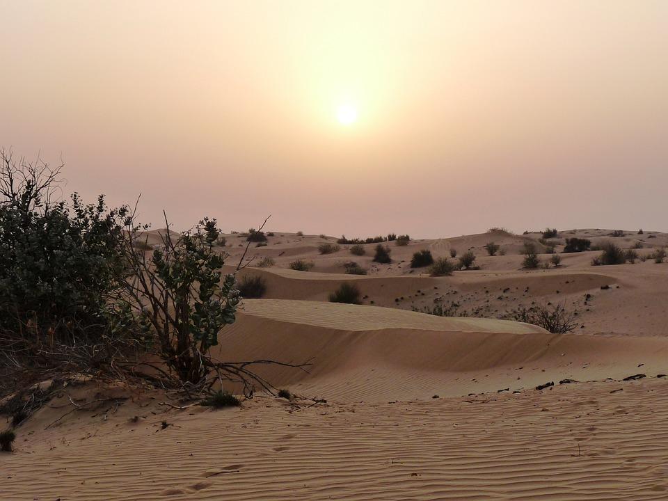 Desert, Sunset, Heat, Lighting