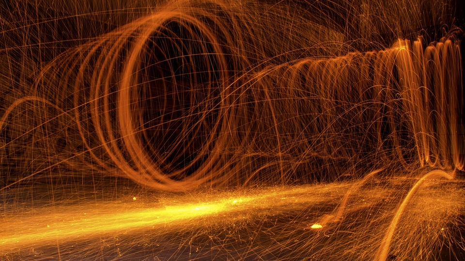 Fire, Sparks, Roud, Pyrotechnics, Heat, Glowing