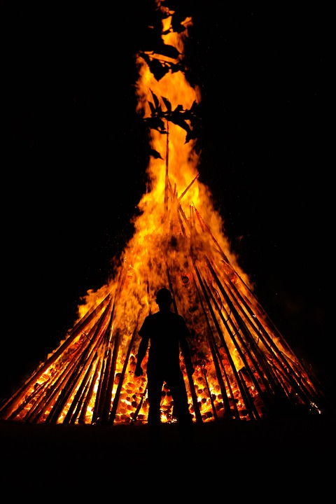 Man, Human, Fire, Person, Silhouette, Hot, Heat, Burn