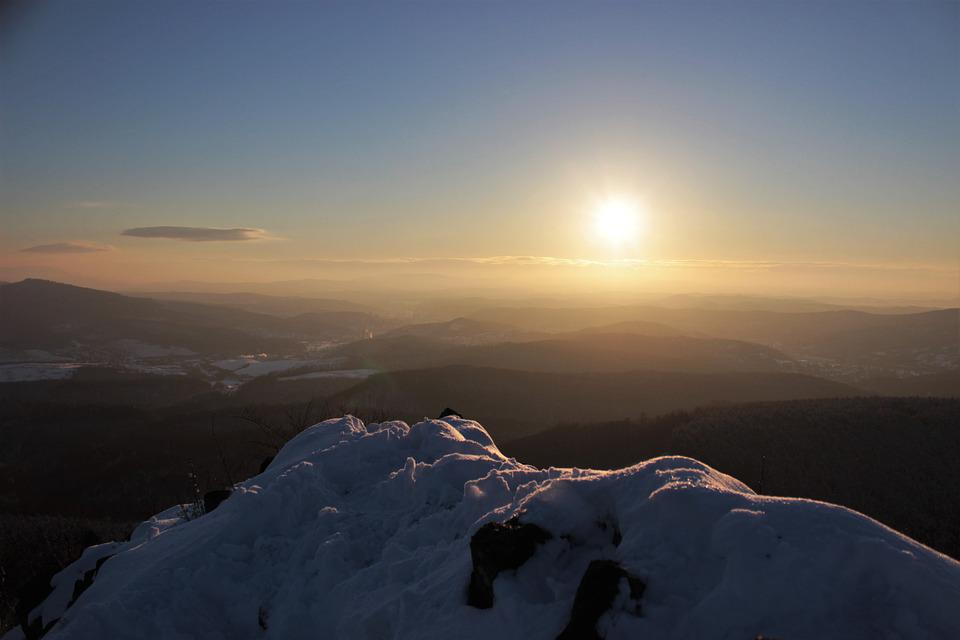 Sunset, Dawn, Landscape, Mountain, Heaven, Winter