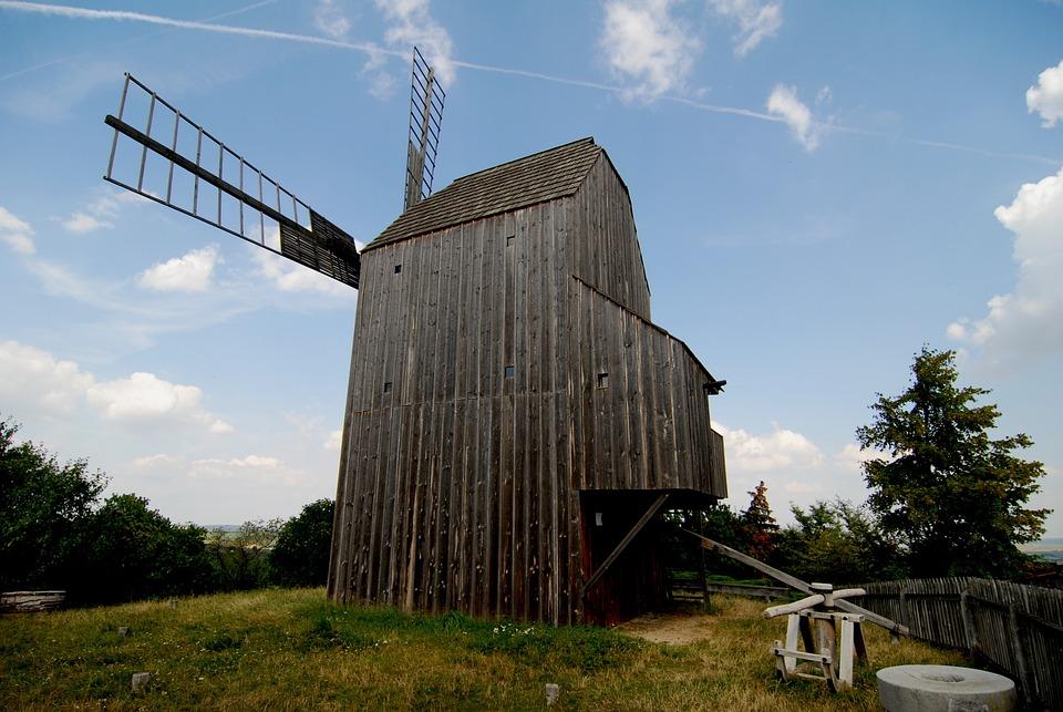 Windmill, Wooden, Scoop, Heaven