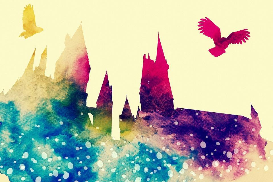 Hogwarts, Owl, Hedwig, Harry Potter, Watercolor