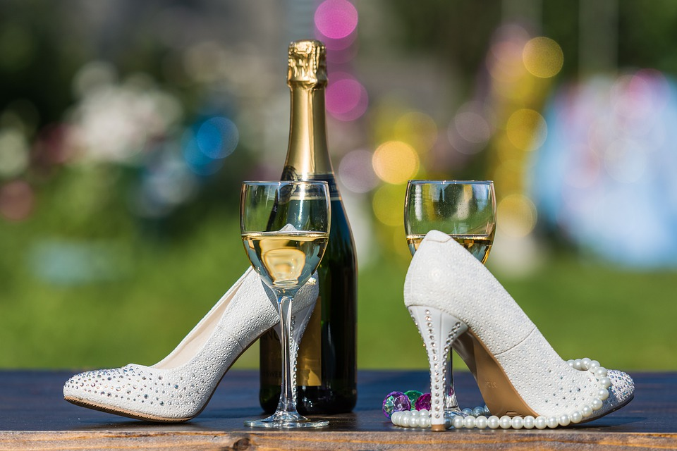 Drinks, Wine, Champagne, Heel, Shoes, Wedding, Glass