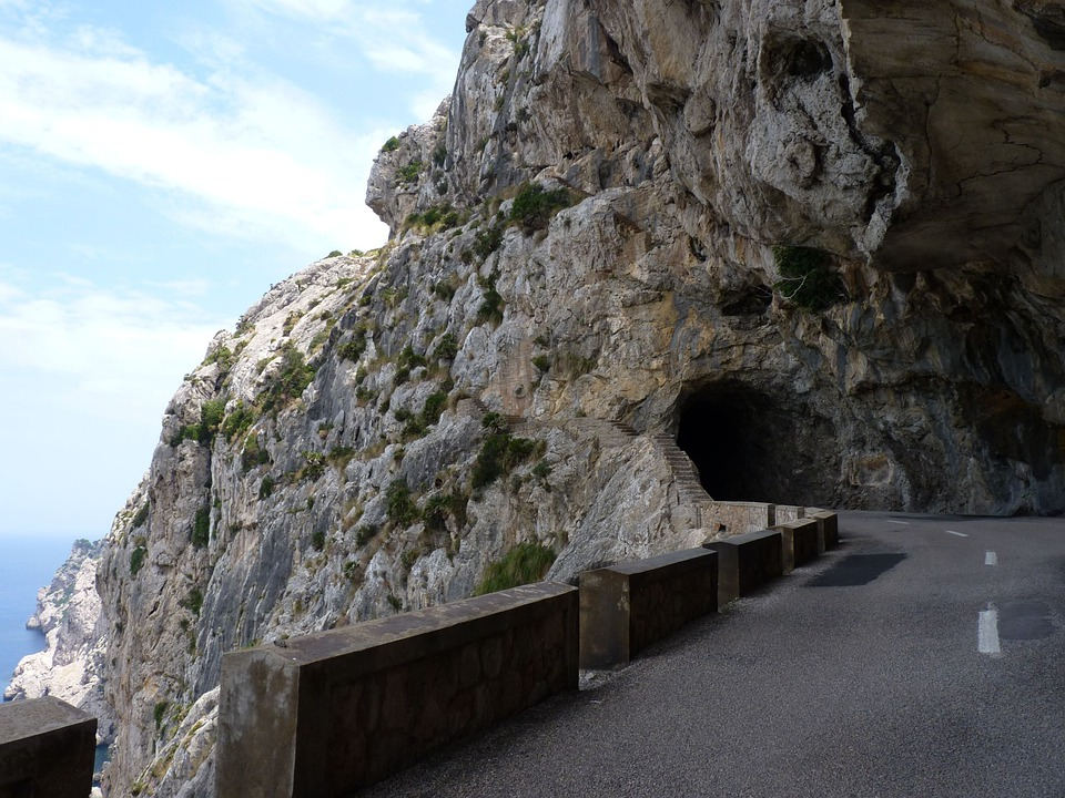 Tunnel, Rock, Height, Cliffs, High Mountains, Heights