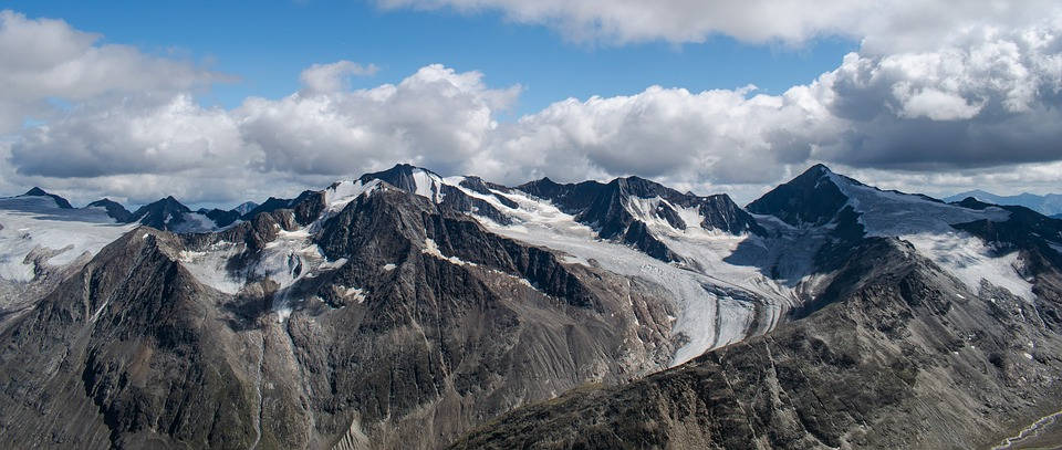 Alps, Mountains, Panorama, Cold, Clouds, View, Height