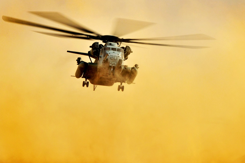 Helicopter, Sky, Clouds, Flight, Flying, Qatar, Usmc