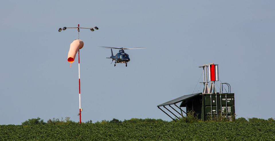 Helicopter Landing, Landing By Windsock, Helicopter