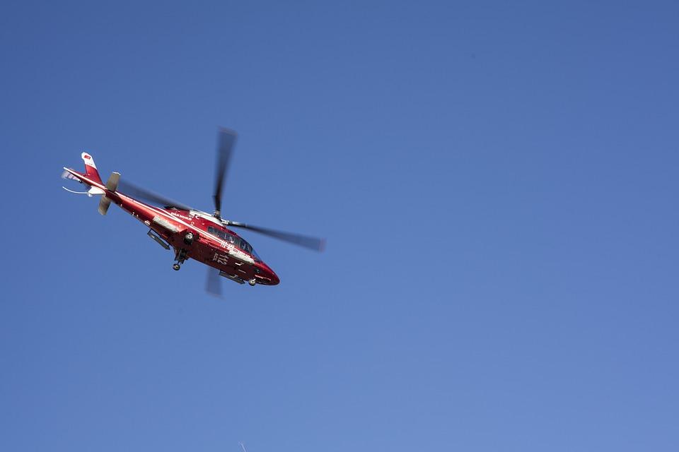 Helicopter, Fly, Ambulance, Blue, Sky, Propeller, High