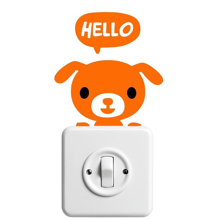 Sticker, Dog, Hello, Light Switch, Funny, Welbe