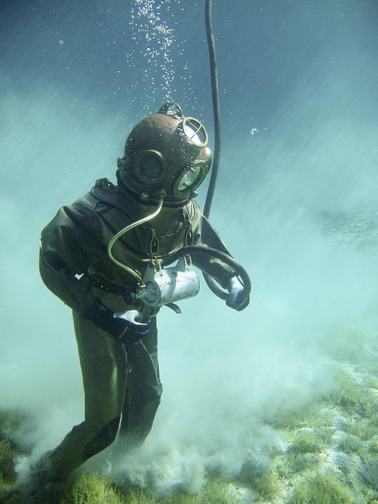 Underwater, Divers, Helmet Diver, Historically