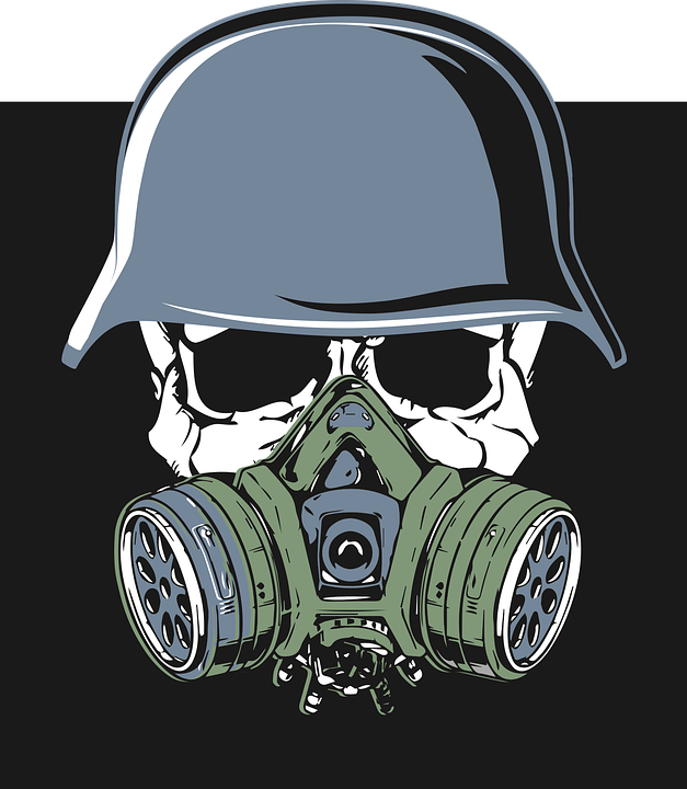 Skull, Helmet, Gas Mask, Army, Soldier, Military