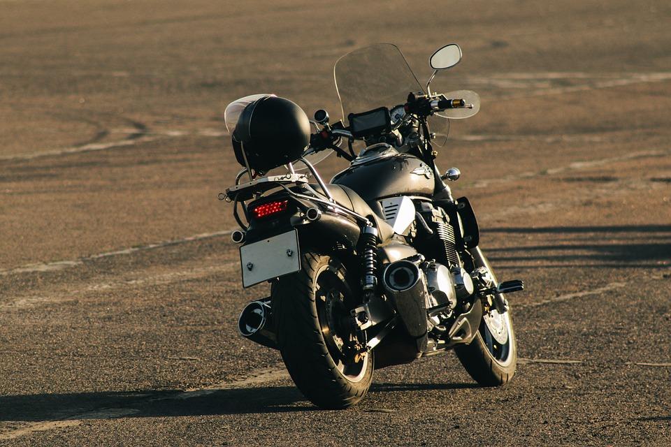 Motorcycle, Bike, Helmet, Back View, Transport