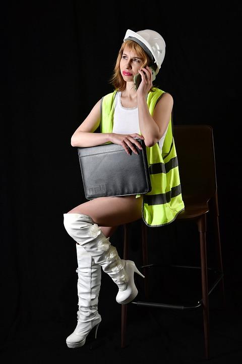 Engineer, Helmet, Call, Woman, Construction Uniform