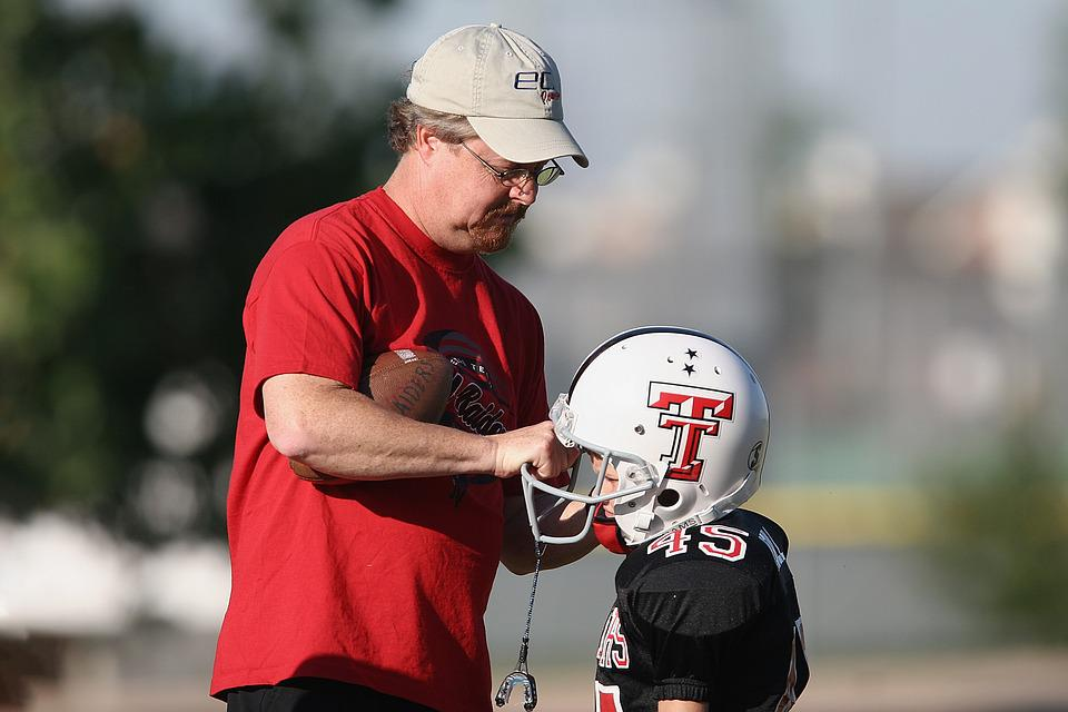 Football, Youth League, Coach, Player, Adult, Helmet