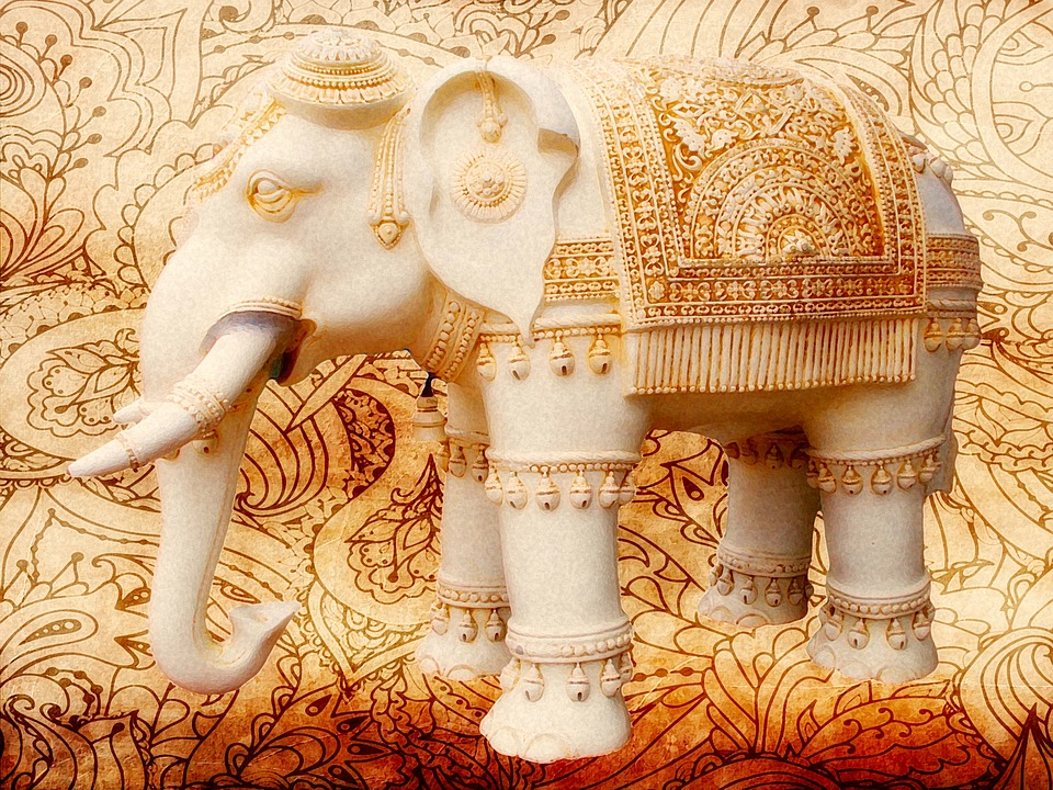 Elephants, Indian, Decorated, Henna, Animal, Asian