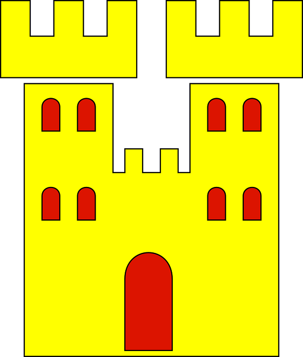 Castle, Heraldic, Heraldry, Yellow Castle