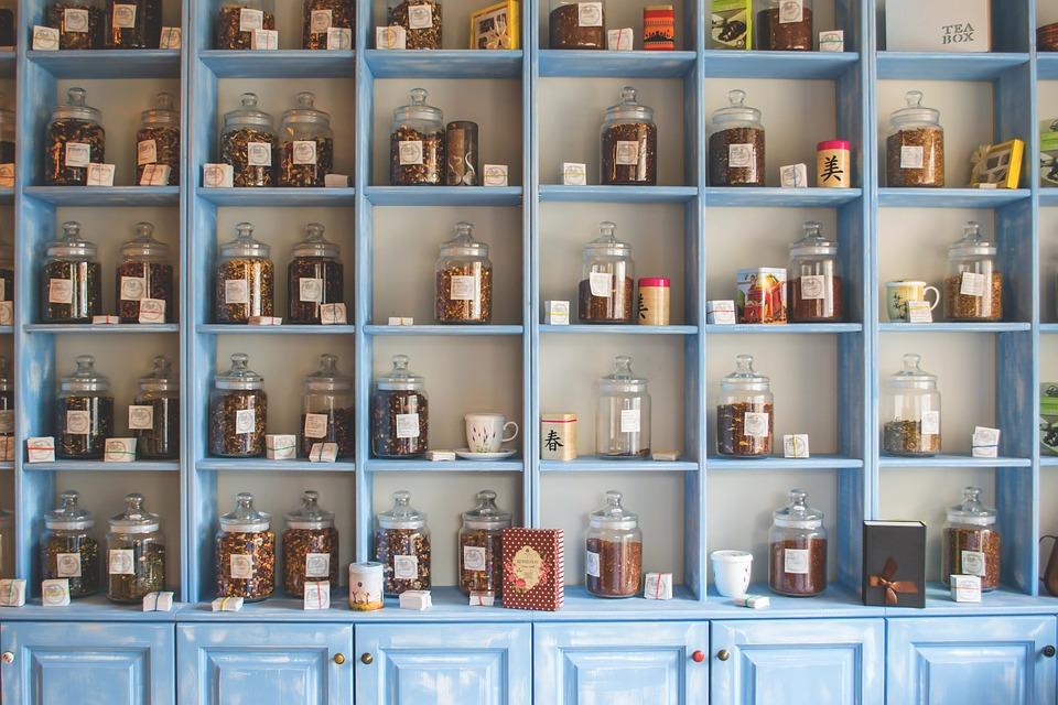 Shelf, Store, Shop, Chinese, Jars, Herbs, Herbal