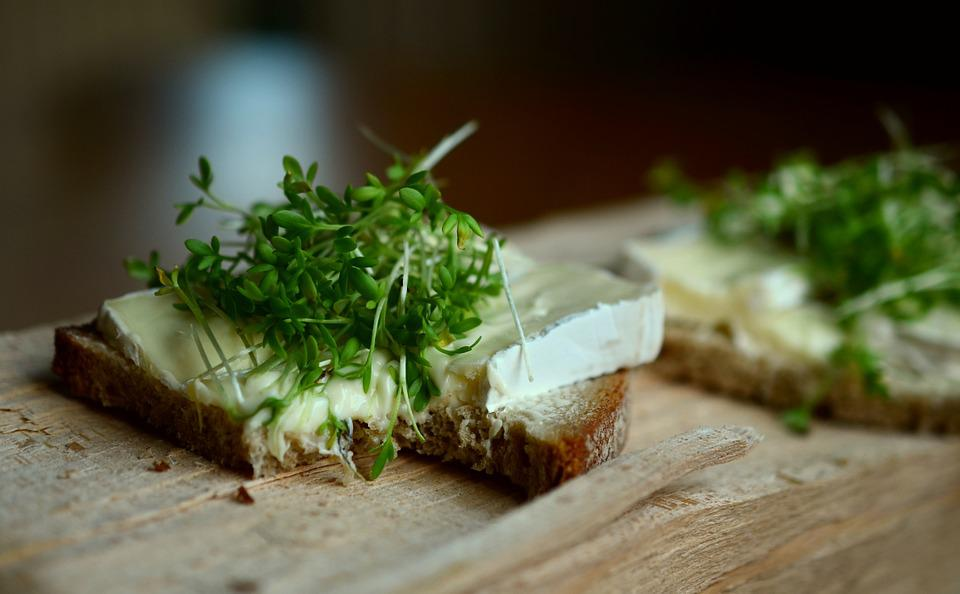 Cress, Herbs, Cheese Bread, Bread, Bread Covering