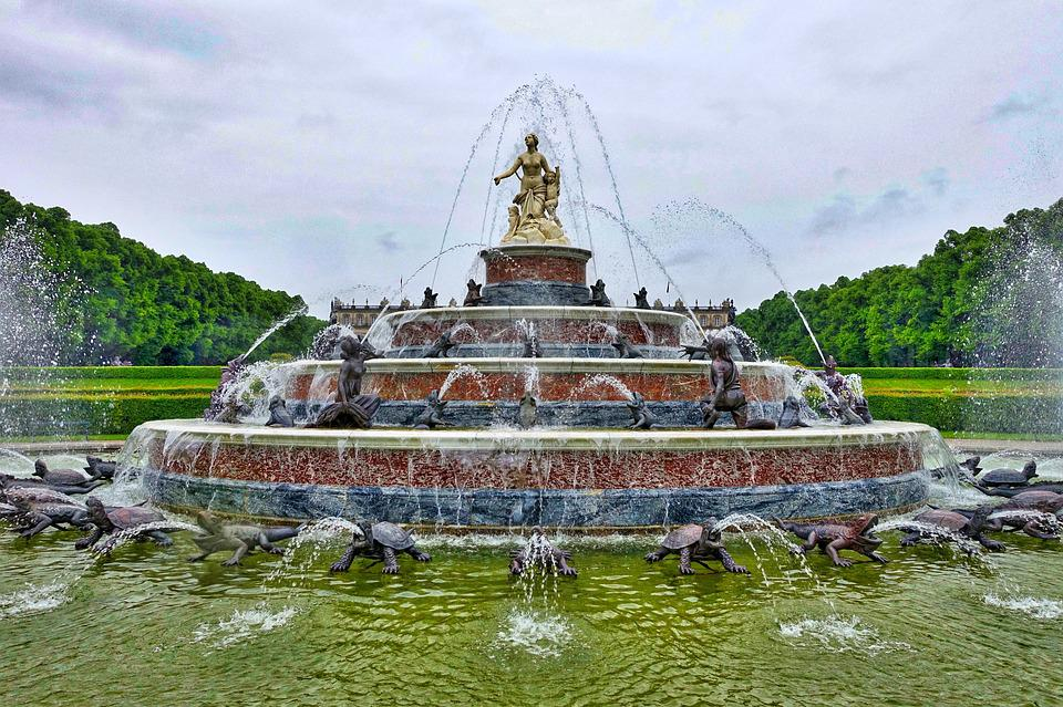 Fountain, Water, Splash, Wet, Spray, Herrencheimsee