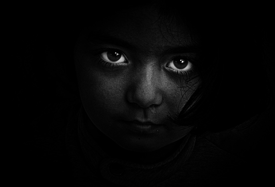 Black And White, Person, Dark, Girl, Eyes, Hidden