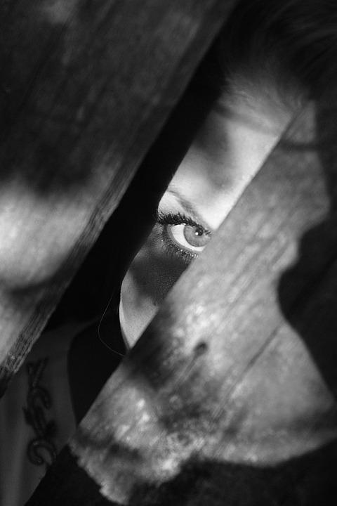 Black And White, Woman, Dark, Hidden, Eye, Fear, Spooky