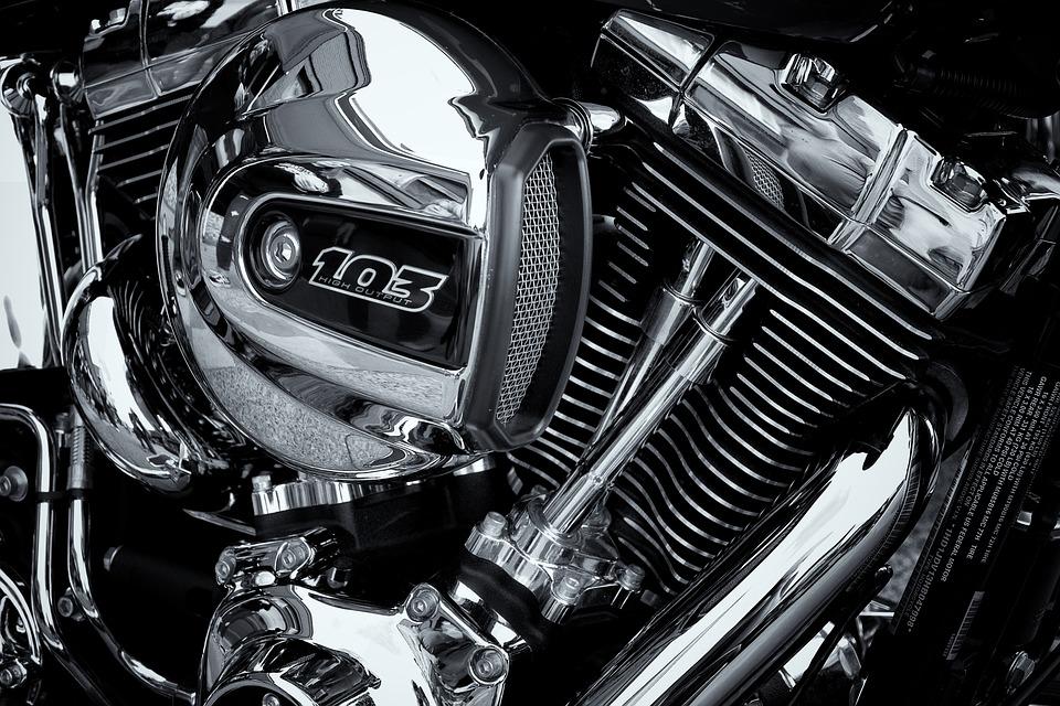 Harley Davidson Engine, High Contrast Chrome