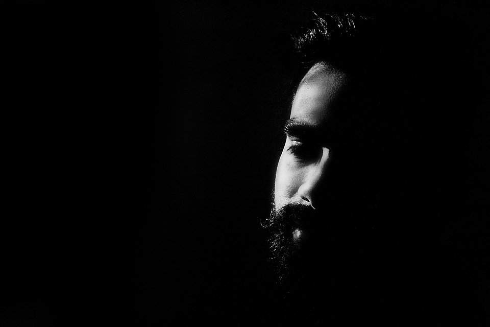 Face, High Contrast, Black And White, Bearded Man, Male