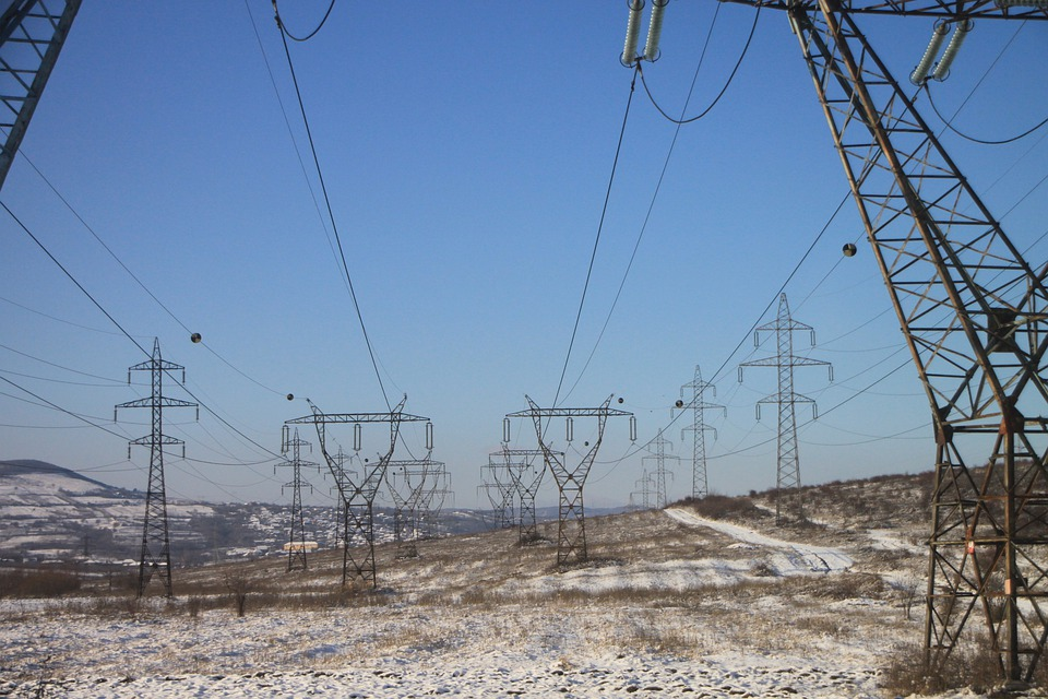 Electrical, Energy, High, Lines, Poles, Power, Snow