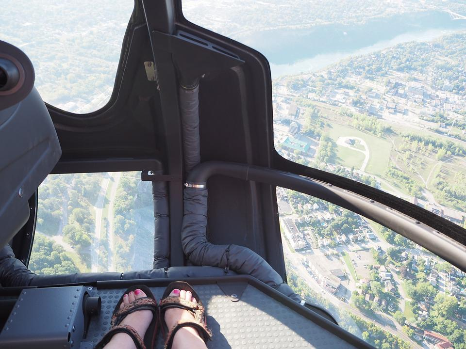 Helicopter, Feet, High, Flight, Within, View