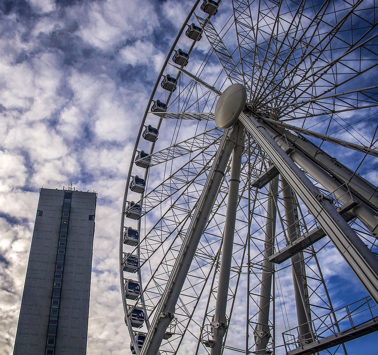 Ferris Wheel, Roll Along, Wheel, Sky, High, Manchester