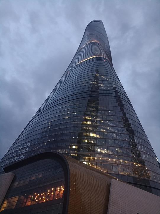 Lu Jia Zui, High Rise Buildings, Look Up, Cloudy Day