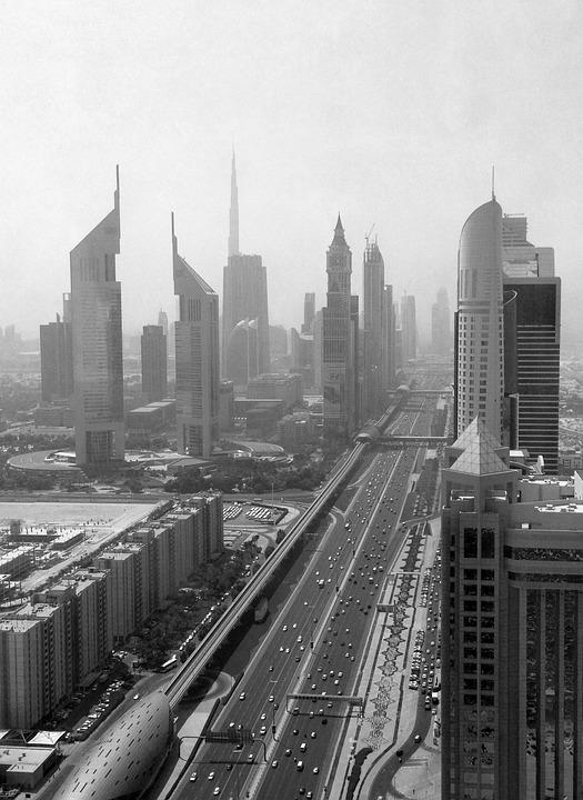 Street, City, High Rise, Dubai, Black And White
