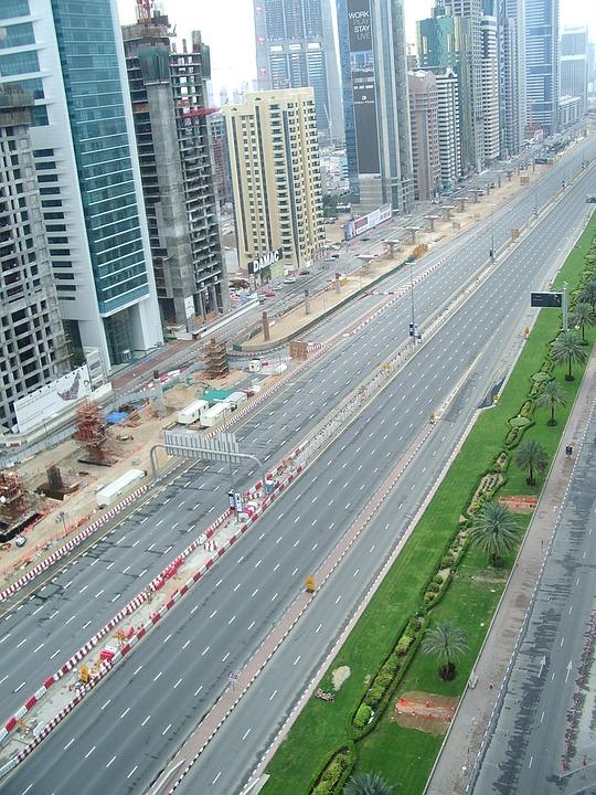 Dubai, Street, High Rise, Uae, Road