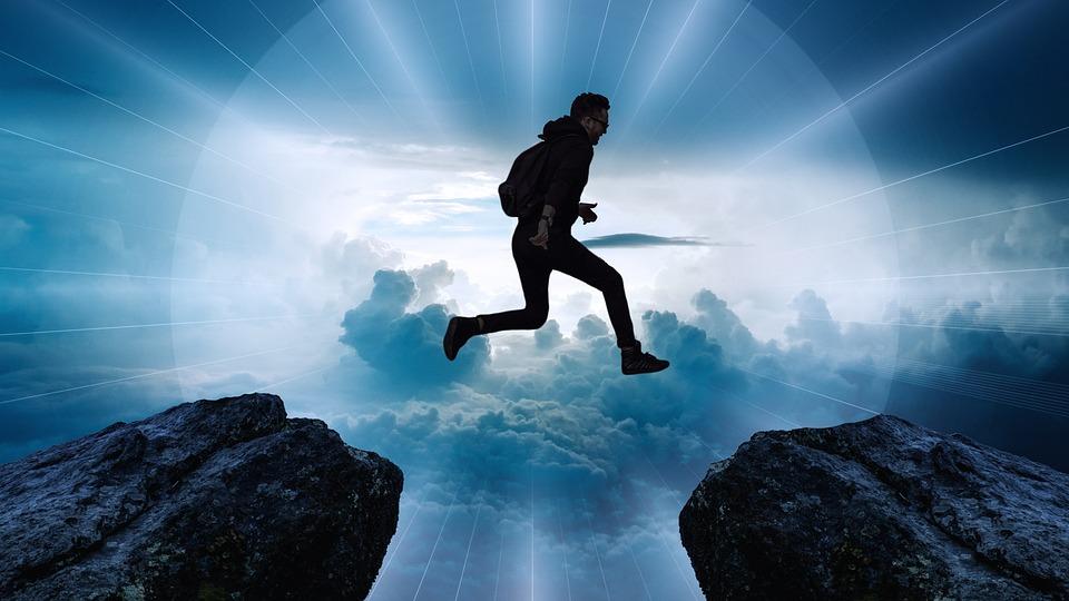 Clouds, Cliff, Jump, High, Rock, Boy, Silhouette