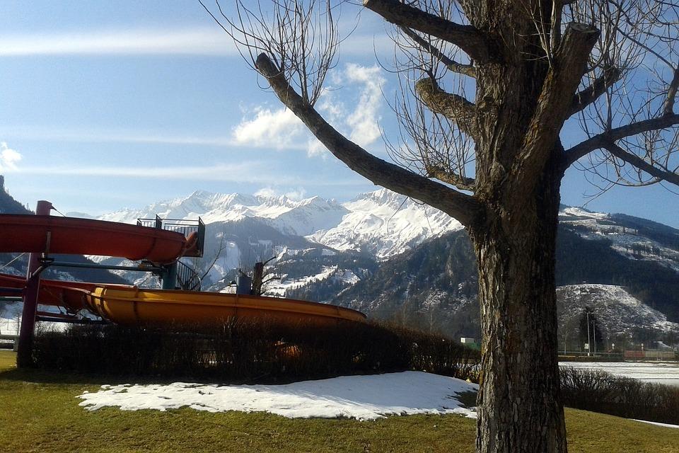 High Tauern, Mountains, Snow, Uttendorf, Badesee, Sun