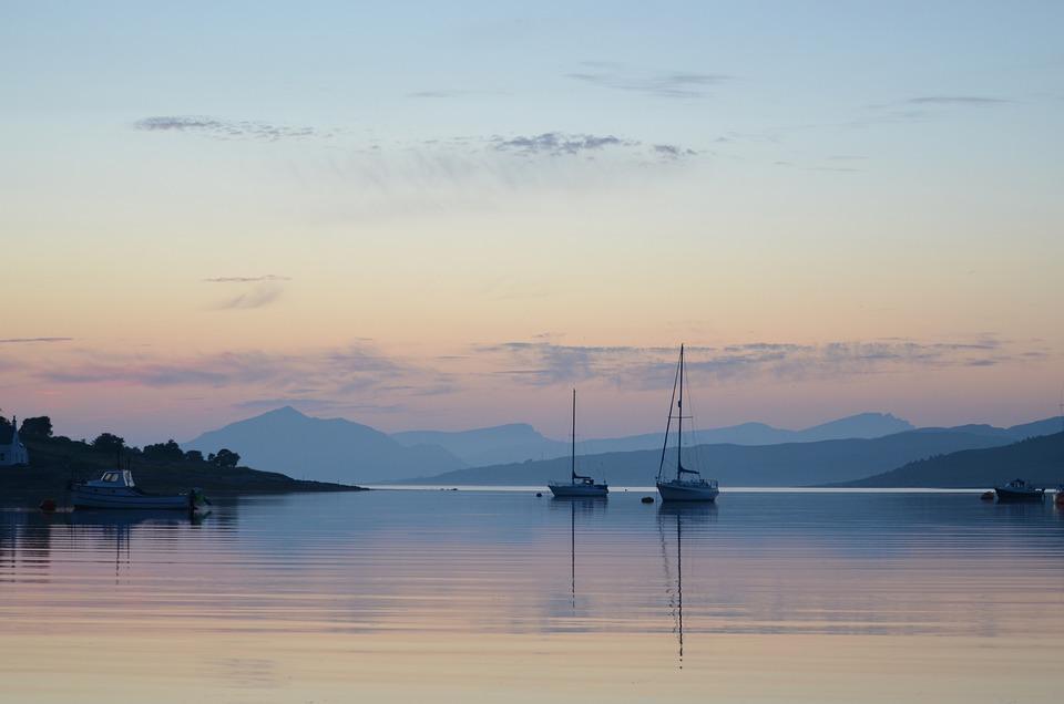 Sunset, Highland Games, Scotland, Kilt, Water