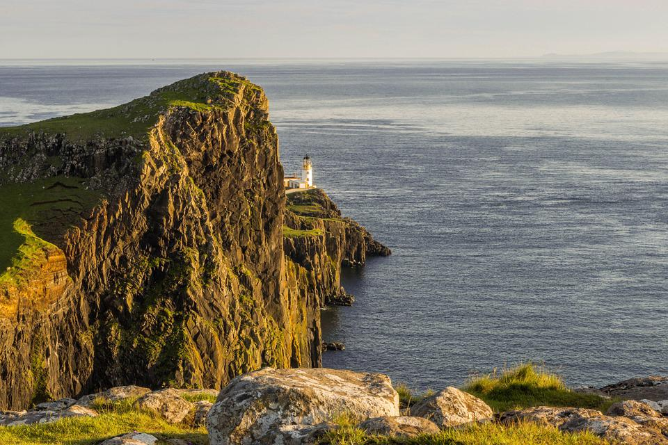 Neist Point, Lighthouse, Highlands, Europe, Hill