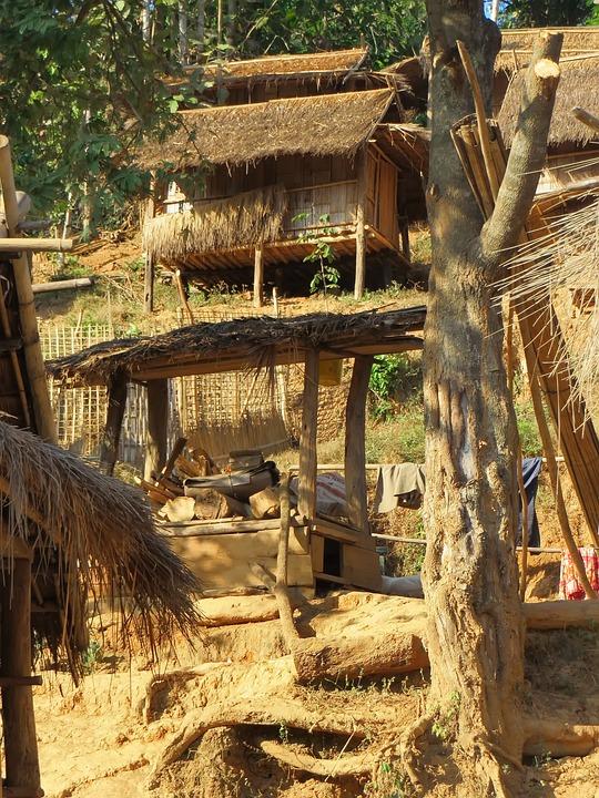 Laos, Village, Rural, Highlands, Huts, Houses