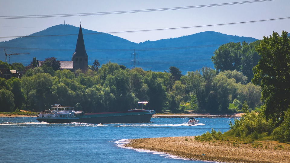 Rhine, Highlands, Ship, Church, Steeple, River, Current