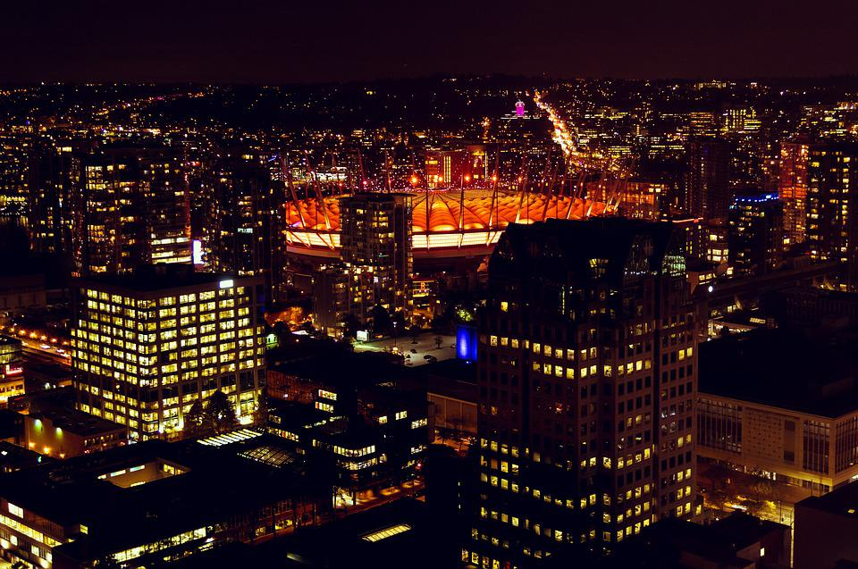 Vancouver, Night, Evening, Bc Place, View, Highrise