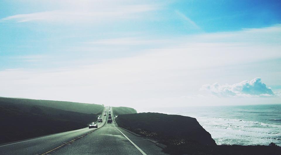 Road, Highway, Cars, Ocean, Sea, Waves, Blue, Sky