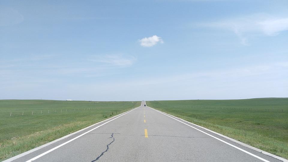 Highway, Prairie, Keshiketengqi, Inner Mongolia